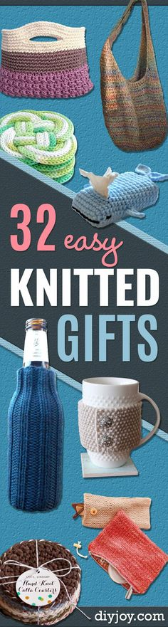 32 Easy Knitted Gifts - Last Minute Knitted Gifts, Best Knitted Gifts For Anyone, Easy Knitted Gifts To Make, Knitted Gifts For Friends, Easy Knitting Patterns For Beginners, Quick And Easy Knitted Gifts http://diyjoy.com/easy-knitted-gifts