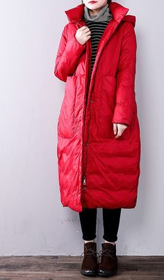 2018 red women parkas casual hooded Fine Large pockets cotton overcoat Materials used:blended Measurement:Size length / length / / Trendy Plus Size Coats, Plus Size Down Coats, Woman Clothing, Size Clothing, Coats For Women, Clothes For Women, Winter Parka, Oversized Dress, Womens Parka