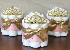 The Posh Toosh Specialty Diaper Cakes make perfect baby shower centerpieces and décor, baby shower gifts, nursery décor, and a unique and practical gift for a mommy-to-be!  ONE Single Tier Mini- Pink and Gold Little Princess Diaper Cake with Tiara ~~~~~~~