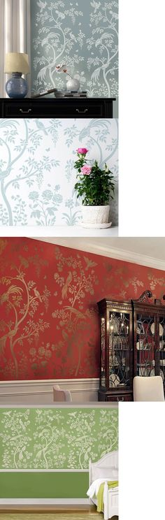 Other Wallpaper 52348: Chinoiserie Birds And Berries Wall Mural Stencil - Stencils For Diy Home Decor -> BUY IT NOW ONLY: $79.95 on eBay!