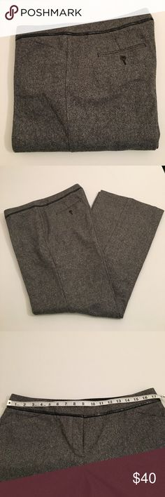 Express wool blend Editor flares Tweed wool blend Editor flares in dark grey. Pants are lined to just past the knee. Faux leather piping at the waistband. Check out the matching vest for a compete outfit! Express Pants