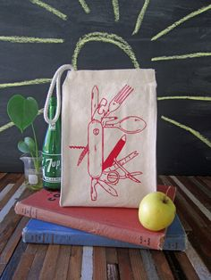 Lunch Bag - Screen Printed Lunch Bag - Reusable Lunch Tote - Recycled Cotton - Eco Friendly Lunch Box - Canvas Tote Bag - Pocket Knife by ohlittlerabbit on Etsy https://www.etsy.com/listing/190687989/lunch-bag-screen-printed-lunch-bag