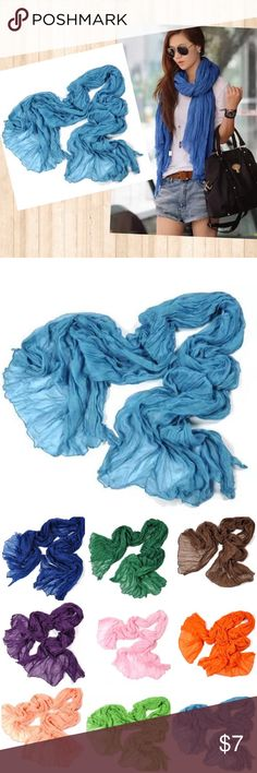 """❗️Clearance❗️Soft Crinkle Scarf Wrap Lake Blue Super soft sheer crinkle scarf wrap. Cotton linen blend.  Approx. 30""""x70"""" Color: Lake Blue See my other listings for more color choices! Accessories Scarves & Wraps"""