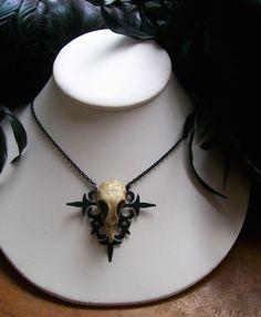 """Gothic Skull Necklace"" - Resin skull on an altered clock hand pendant. (Shop: http://www.etsy.com/people/darklingdoll)"