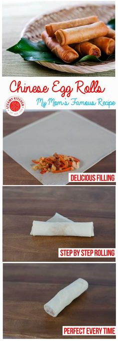 Mother's Famous Chinese Egg Rolls Recipe + step by step photos on how to wrap perfectly | steamykitchen.com ~ http://steamykitchen.com (Asian Recipes Egg Rolls)
