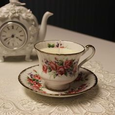 markings include Paragon by Appointment to her Majesty the Queen China Potters Fine Bone China Reg's Circa Teacup Flowers, Teacup Candles, Flower Festival, Her Majesty The Queen, Vintage Candles, Organic Essential Oils, Candle Making, Bone China, Tea Cups