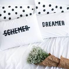 DREAMER / SCHEMER Pillow Case Set by Jasmine Dowling