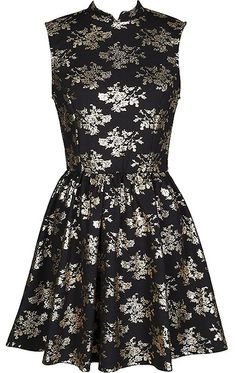 Gilded Kiss Dress | Black Gold Foiled Floral Print A-Line Dresses | Rickety Rack