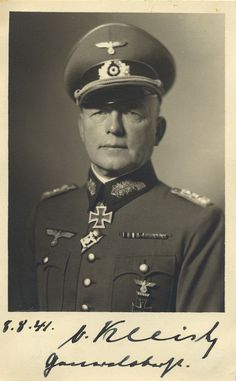 Paul Ludwig Ewald von Kleist (1881-1954) was a German field marshal during World War II. In August 1939 he was recalled to duty from retirement. He was relieved of his command in March 1944 for ordering the 8th Army to retreat when it was in danger of destruction by Soviet forces in explicit violation of Adolf Hitler's orders. He was captured by U.S. forces in 1945, and was extradited to the Soviet Union, where he was given a 10-year sentence in 1952 for war crimes, where he died in…