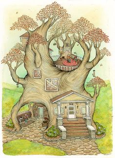 nimasprout - Art by Nicole Gustafsson: Tree + House Art And Illustration, Illustrations, Tree House Drawing, Superflat, Storybook Cottage, Pop Art, Fantasy Art, Art Drawings, Fairy Tales