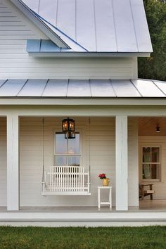 Modern Farmhouse Exterior / Porch Swing / White Siding with Metal Roof / Black Lantern Lighting Fresh Farmhouse, White Farmhouse, Modern Farmhouse, Farmhouse Style, American Farmhouse, Farmhouse Windows, Modern Country, Country Living, Style At Home