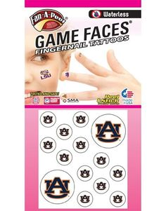 Auburn University (AU) Tigers – Waterless Peel and Stick Temporary Tattoos – Waterless Peel and Stick Temporary Fingernail Tattoos – 12 Fingernail Tattoos and 2 Spirit Tattoos ** Check out this great product. (As an Amazon Associate I earn from qualifying purchases) 2 Spirited, Spirit Tattoo, Line Video, Tattoo Paper, Game Face, Auburn University, Tiger Tattoo, Body Glitter, Body Makeup