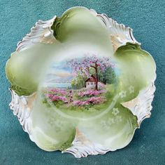 RS Prussia Porcelain Bowl Spring Time Flowers with Cottage Sheep 10 5