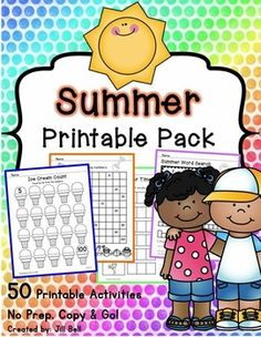 This pack is perfect for those last hectic days of school before summer vacation. Included are 50 printable activities with a summer theme. Ready to print and go!