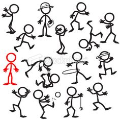Stickfigure stand out in a crowd Royalty Free Stock Vector Art Illustration