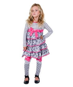 Loving this Gray & Pink Dehlia Dress & Leggings - Infant, Toddler & Girls on #zulily! #zulilyfinds