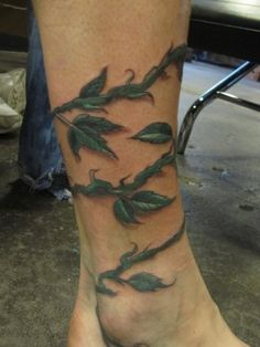 ankle foot wrap tattoos | vine tattoo meanings back cool vine 30 vine tattoos vine tattoo ...
