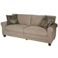 A versatile tan color and soft cushions makes this sofa the perfect addition to any home or office decor. A center support foot helps this comfortable furniture keep its shape.