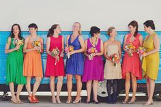 My rainbow #bridesmaids in their (all but one) @BHLDN Weddings dresses - could they be more beautiful?!?