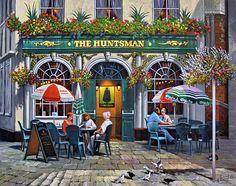 Landscape Art, Landscape Paintings, Watercolor Illustration, Watercolor Art, Cafe Art, City Painting, Illustrations, Naive, Paris
