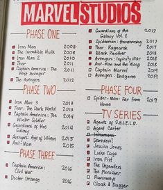 My MCU tracker in my bullet journal More memes, funny videos and pics on The post My MCU tracker in my bullet journal & MARVEL/DC appeared first on Film Germany . Bullet Journal Ideas Pages, Bullet Journal Inspiration, Book Journal, Marvel Movies In Order, Films Marvel, List Of Marvel Movies, Marvel Superheroes List, Avengers Movie List, List Of Disney Movies
