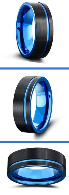 Men's blue wedding ring collection. This is a mens wedding ring collection of all blue rings. Most are crafted out of high grade tungsten carbide making them super durable and super comfy. I love the look of these blue and black rings. #mensweddingrings #mensweddingbands #bluerings