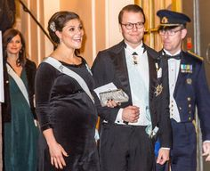 Crown Princess Victoria and Prince Daniel.  She is about to pop and still has to go to March before delivery!   Sweden Royals attend the formal gathering of the Swedish Academy