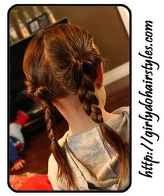 "Jenn says, ""If you don't have time to do french braids this is a nice alternative."" Note to self: one pony braid; coil braid (into bun?) and secure for gymnastics practice."