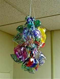 A sharpie colored melted plastic cup kids craft, an art lesson and homage to Chihuly's blown glass installations.
