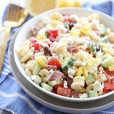 Greek Pasta Salad | Our Best Bites Salad Recipes, Healthy Recipes, Healthy Lunches, Homemade Greek Dressing, Greek Salad Pasta, Pepper Pasta, Clean Eating Breakfast, Summer Salads, How To Cook Pasta