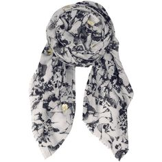 Becksondergaard V-Settsu Wool Mix Scarf - Nutmeg White ($120) ❤ liked on Polyvore featuring accessories, scarves, nutmeg white, white scarves, white shawl, patterned scarves and print scarves