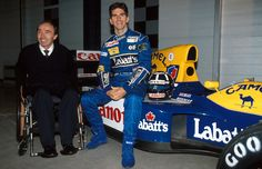 Sir Frank Williams and the newly promoted Damon Hill with the Williams FW15C