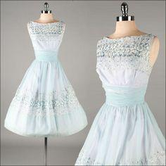 Vintage 1950s Dress . Blue Chiffon . Embroidery . 3201. $215.00, via Etsy.
