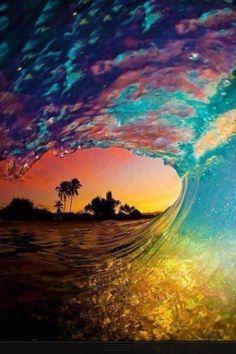 A real Hawaiian wave at dusk.