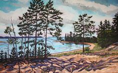 Lake Superior Cove, Nancy Yanaky, oil, X Rainbow Falls, Painting Workshop, Lake Superior, Beautiful Paintings, Landscape Paintings, National Parks, Oil, State Parks