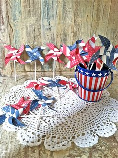 Red White & Blue MIni Pinwheels Set/ Toppers  18 by HalosHaven, $20.00