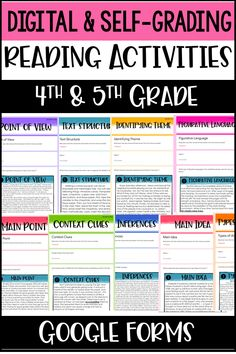 Digital Reading Activities for & Grade - Do you need digital reading activities that are self-grading and easy to assign and complete? Reading Strategies, Reading Skills, Teaching Reading, Reading Resources, Learning, Teaching Activities, Classroom Activities, Classroom Ideas, 5th Grade Reading