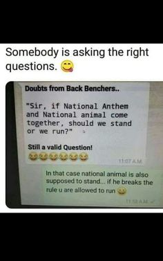 Funny school jokes - The National Anthem and the National Animal Latest Funny Jokes, Very Funny Memes, Funny School Memes, Cute Funny Quotes, Some Funny Jokes, Funny Relatable Memes, Funny Facts, Hilarious, Whatsapp Chats Funny