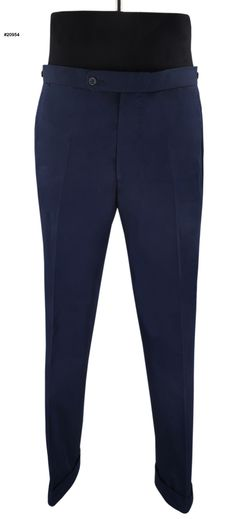 Navy Twill Chino pants by Luxire: Comfortable cotton pants in Navy.  Features: 2 Rear Pockets with Buttons, Daks adjusters and bottom cuffs.