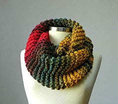 This colourful and chunky cowl.