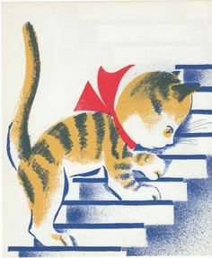 1940s Vintage Kitten print illustration from children's picture book Indoor Noisy Book by Margaret Wise Brown