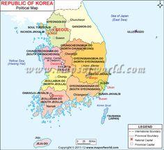 South Korea Map showing the international boundaries, national capital, province capital etc.