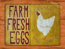 Farm Fresh Eggs Chicken Rooster Farm Poster Tin Sign