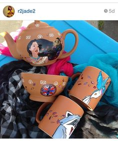 Pocahontas teapot and more AMAZING work by Danielle Gonzalez!!! Instagram @r2jade2