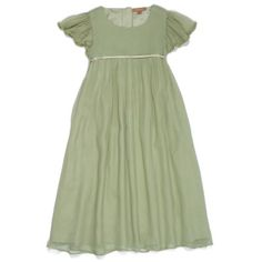 Elegant, simple and timeless, long pure silk chiffon flower girl dress in sage green with a soft lining. This dress has a softly scooped round neck, a pretty and discreet soft gold empire line high waist with tie fastening at the back and tiny beading det Emerald Green Bridesmaid Dresses, Green Flower Girl Dresses, Sage Green Dress, Green Wedding Dresses, Girls Dresses, Flower Girls, Green Sage, Chiffon Flowers, Silk Chiffon