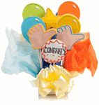 "Congratulations Cookie Bouquet - This popular assortment is a great gift for saying ""Congratulations"" and features brilliantly hand decorated Balloons, ""Thumbs Up"" Hands, and Star and a Cookie Plaque that conveys the perfect message! Cookie Gift Baskets, Cookie Gifts, Candy Gifts, Cookie Favors, Logo Cookies, Heart Cookies, Iced Cookies, Baby Cookies, Summer Cookies"