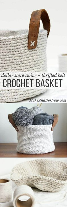 Combine cheap utilitarian twine (from Dollar Tree!) and a thrifted leather belt to create a raw, yet sophisticated home decor piece a la West Elm or Anthropologie. This free crochet basket pattern is exceptionally easy to make with only single crochet sti Yarn Projects, Knitting Projects, Crochet Projects, Knitting Ideas, Crochet Gratis, Free Crochet, Crochet Basket Pattern, Crochet Patterns, Crochet Baskets