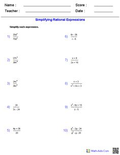 Worksheet Rational Expressions Worksheet worksheets and nerd on pinterest simplifying rational expressions worksheets