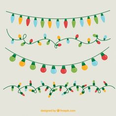 How to Draw and Paint or Color Christmas Lights for Kids or ...
