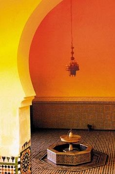 Warm colours of Moroccan interiors. Moroccan Colors, Moroccan Design, Moroccan Style, Small Fountains, Moroccan Interiors, Water Element, Warm Colors, Rich Colors, Arabian Nights
